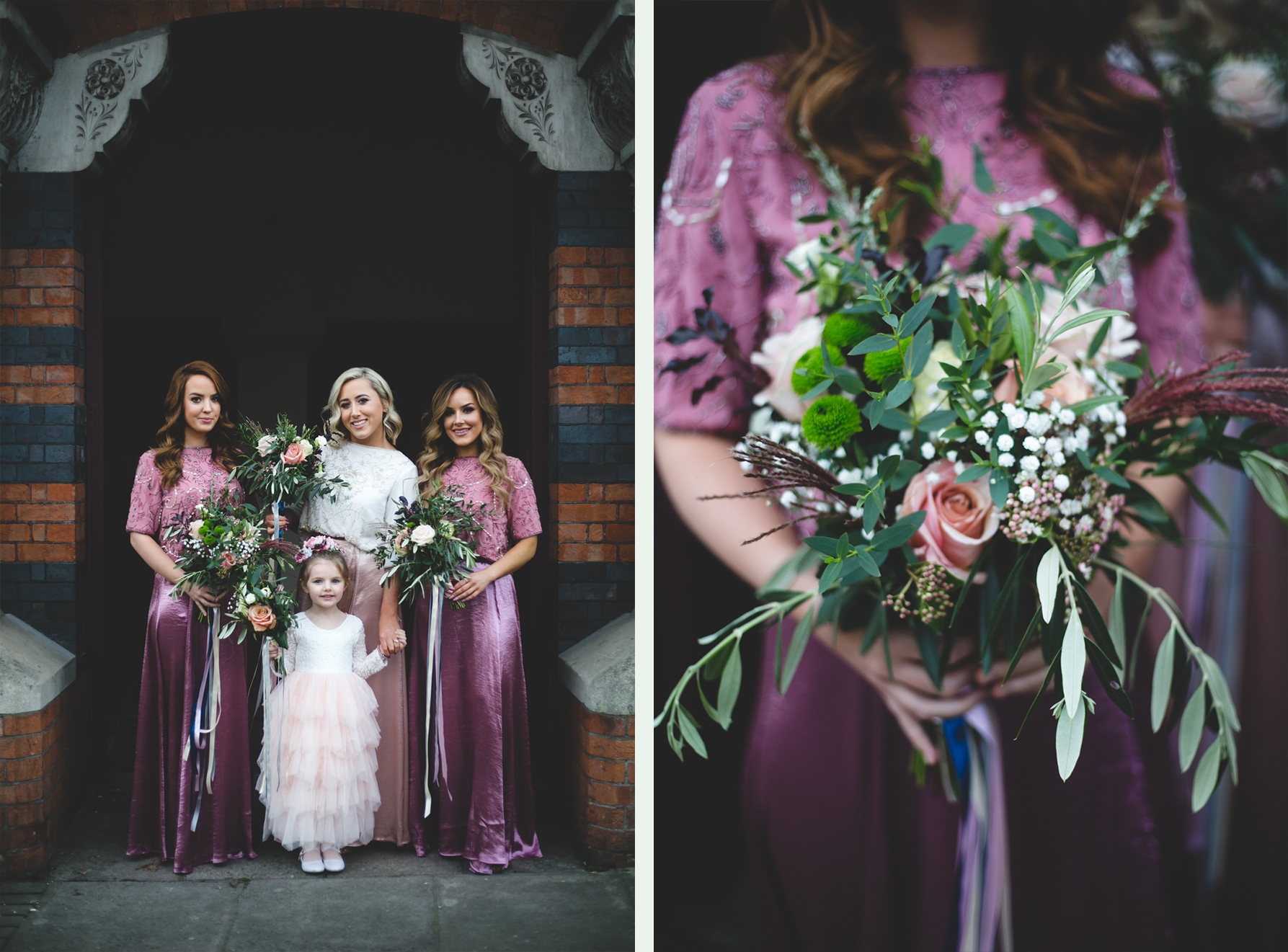 Mix match Pink bridesmaids dresses from Folkster