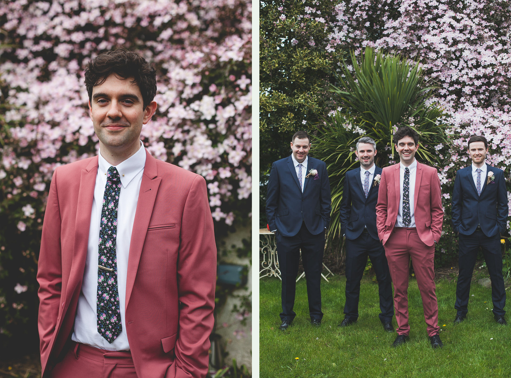 Stylish crushed pink grooms suit with floral tie