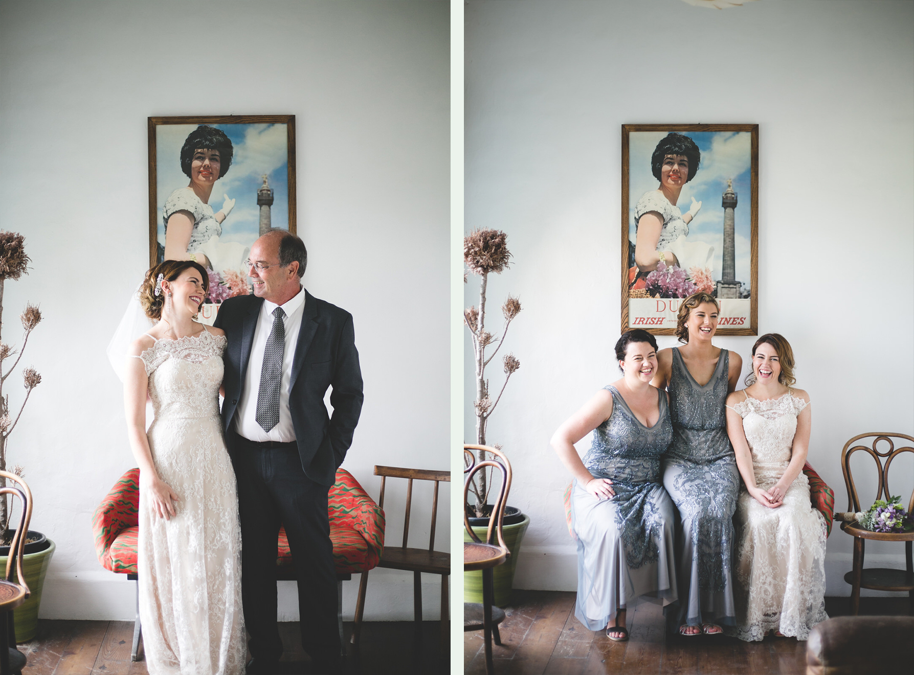 father of the bride and bridesmaids Portraits at the airport lounge in Bellinter House