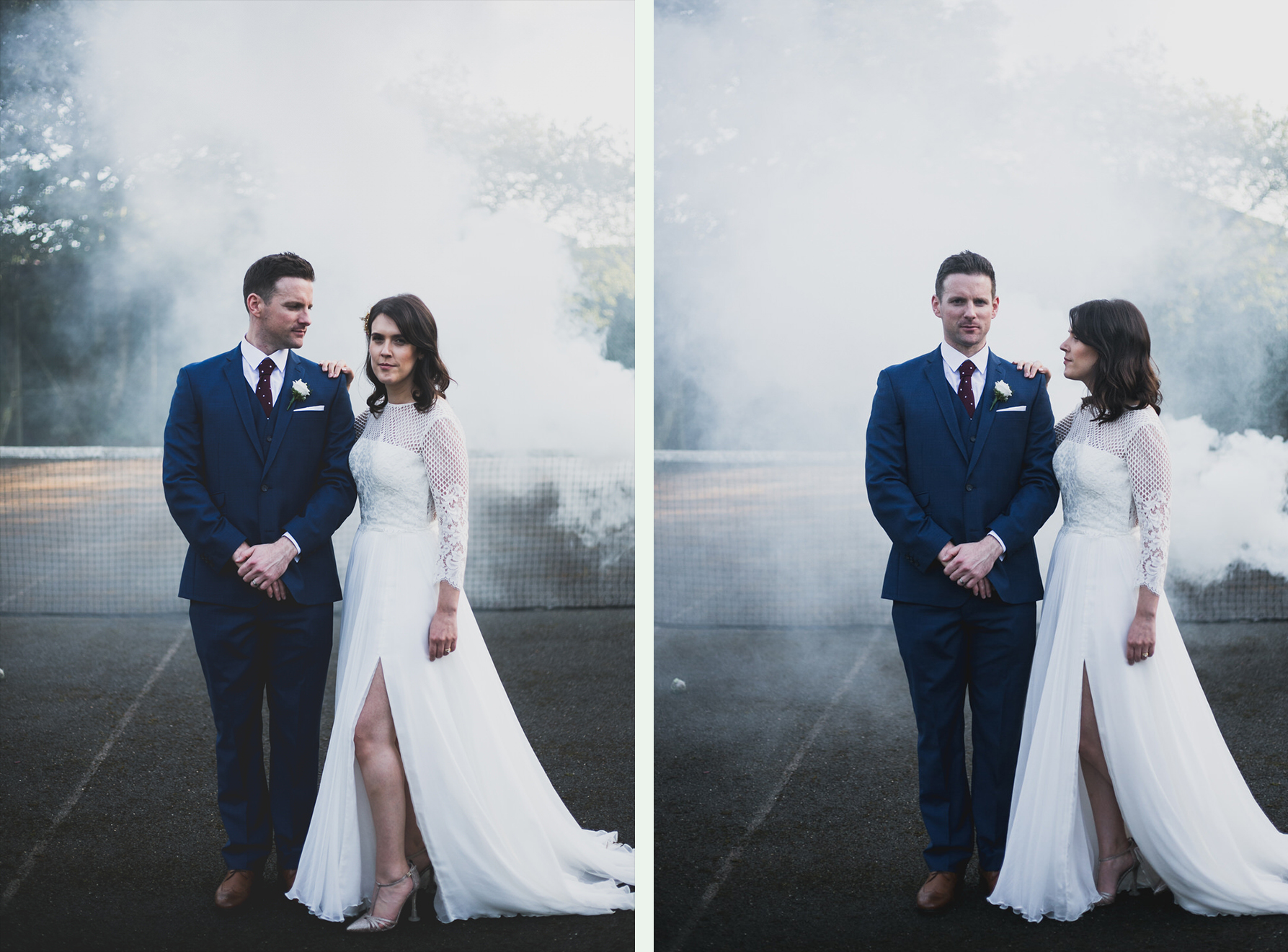 White smoke bomb wedding photographs