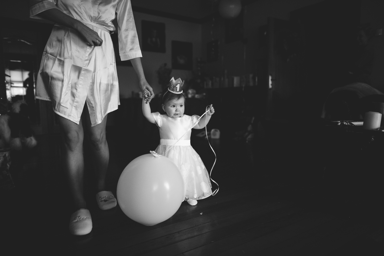 Black and white - little wedding flower girl
