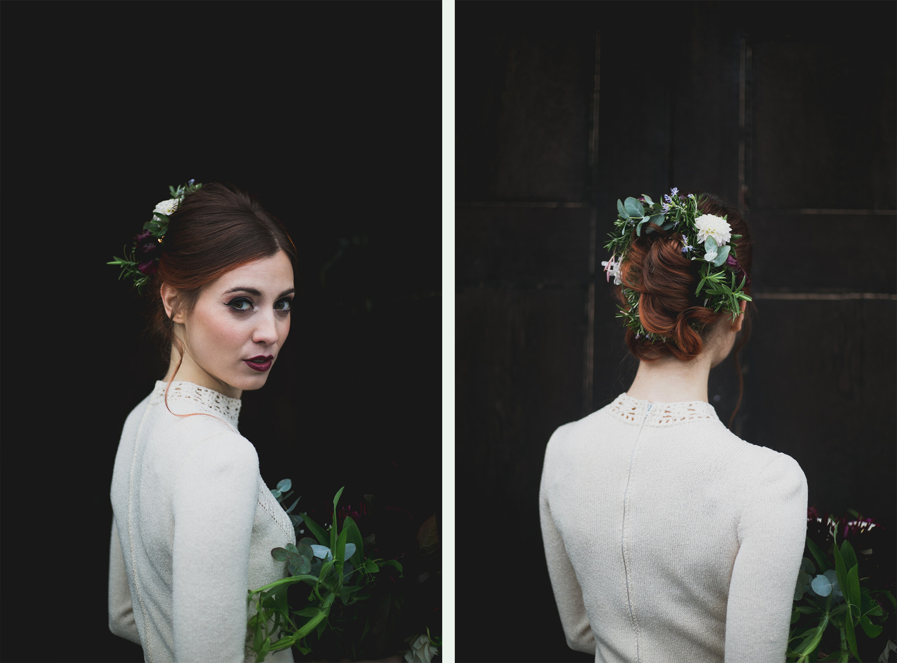 Paloma Feijoo - bridal styled shoot with dress from Dirty Fabulous Vintage, Hair by Simon Reilly and flowers by The Wild Bunch