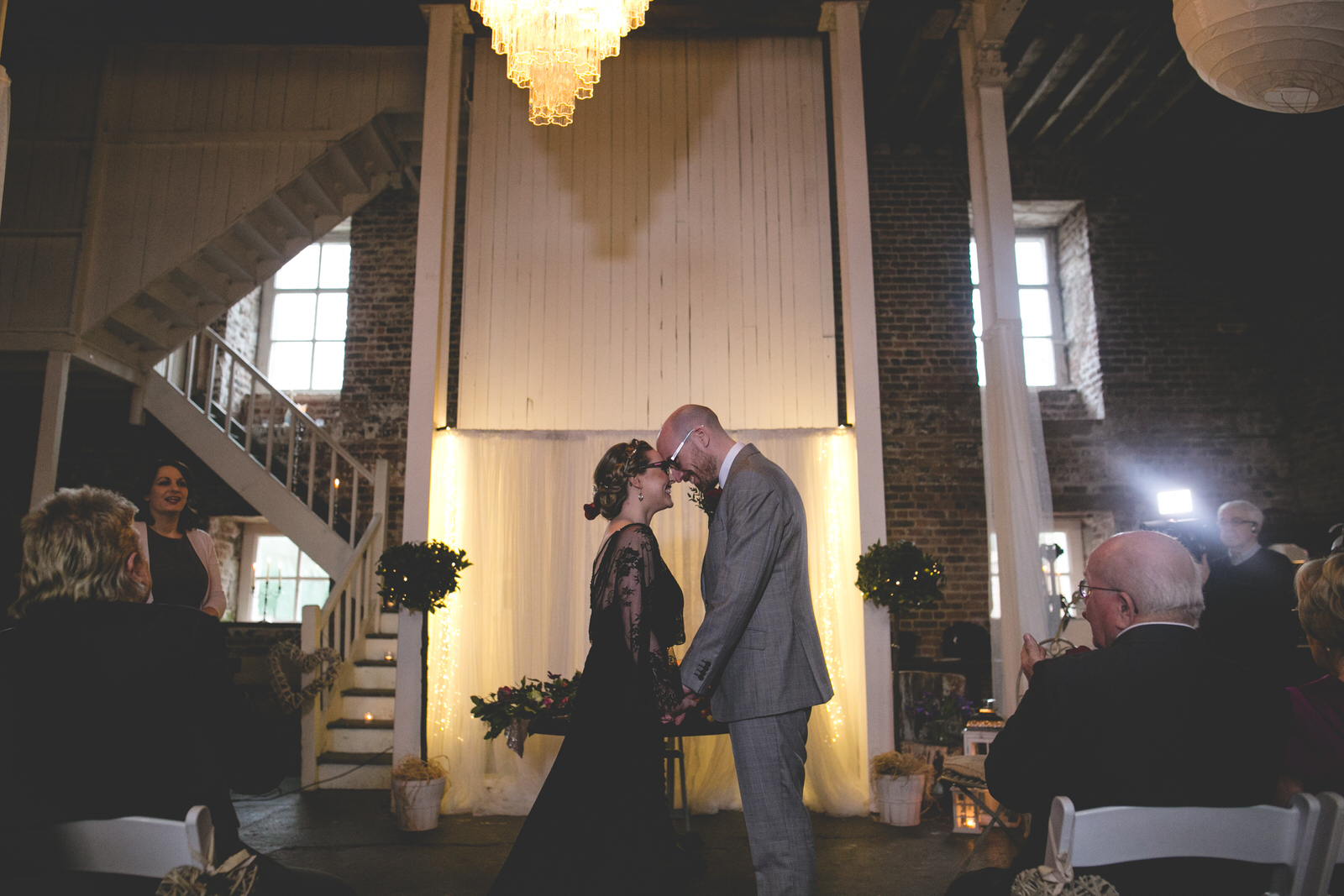 Rustic humanist wedding ceremony at the old mill in the Millhouse