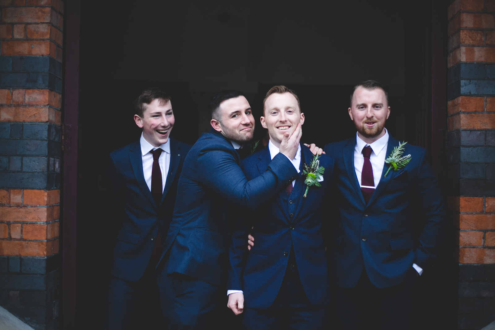 Groom and groomsmen portraits at the University Church on St Stephen's Green