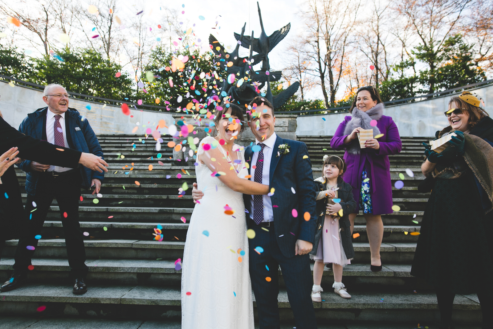 Confetti wedding shot at the Garden of Remembrance in Dublin