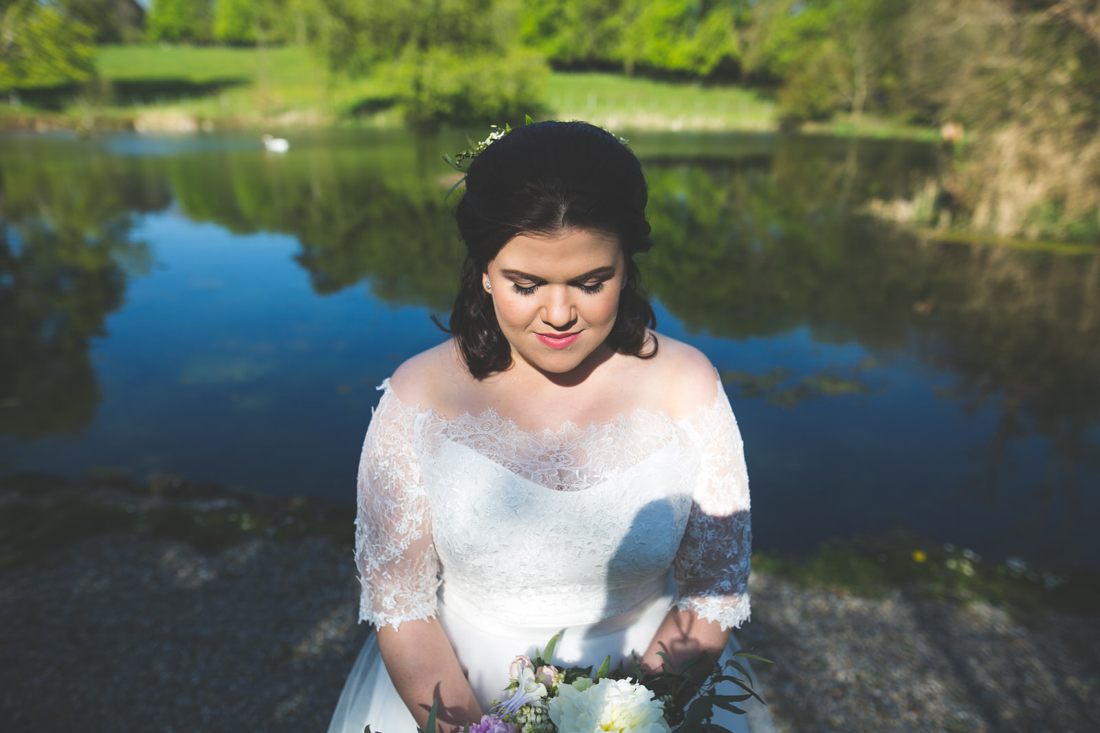 Bride portrait at the lakeside in Kilshane House Tipperary
