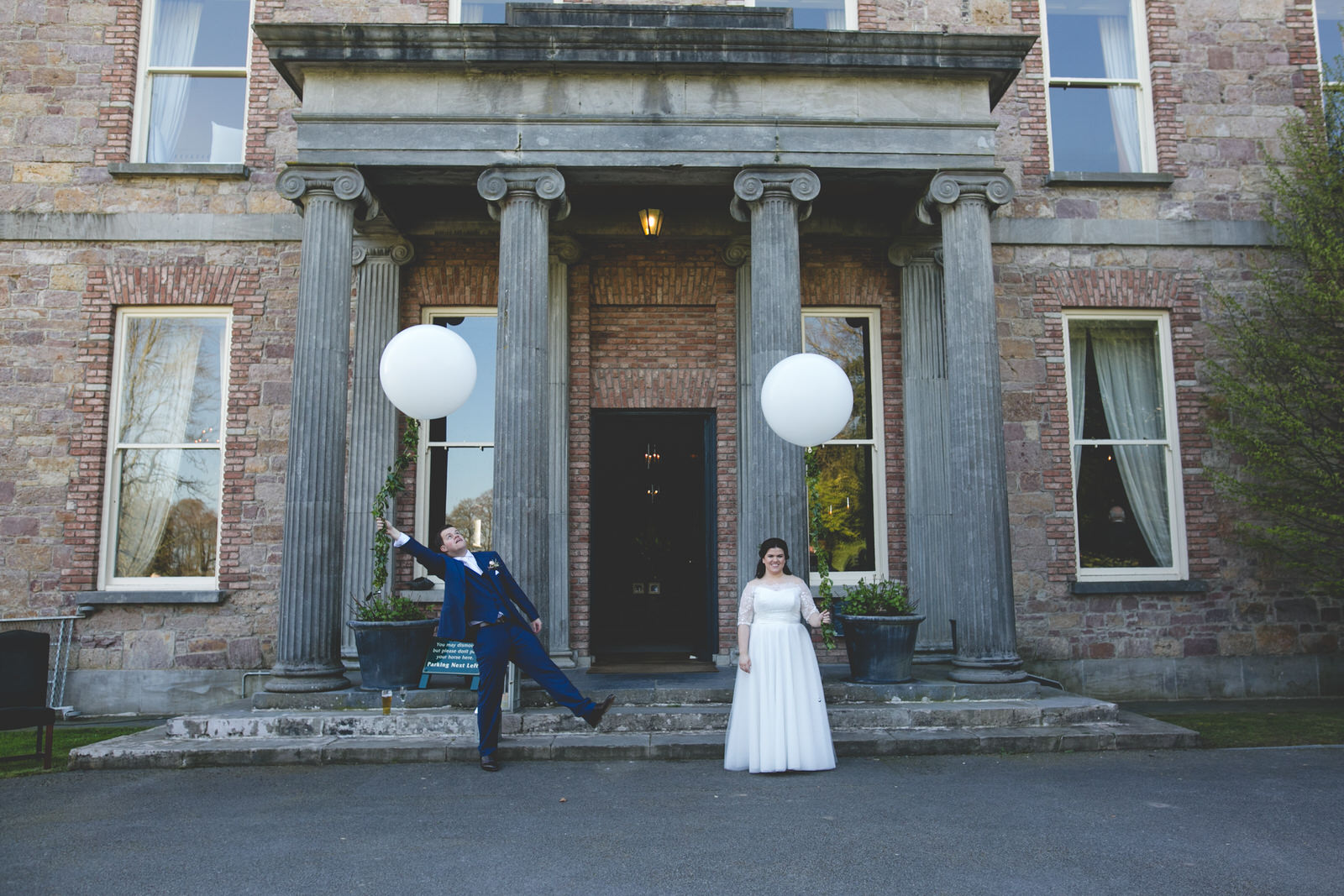 Giant balloons at wedding in Kilshane House