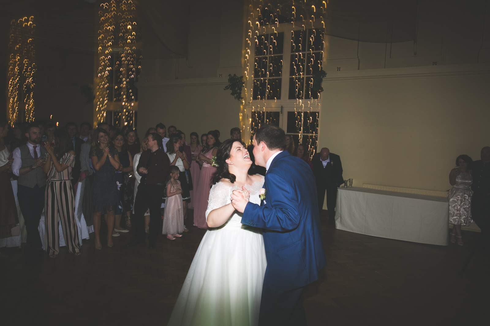laughs during the first dance at Kilshane House