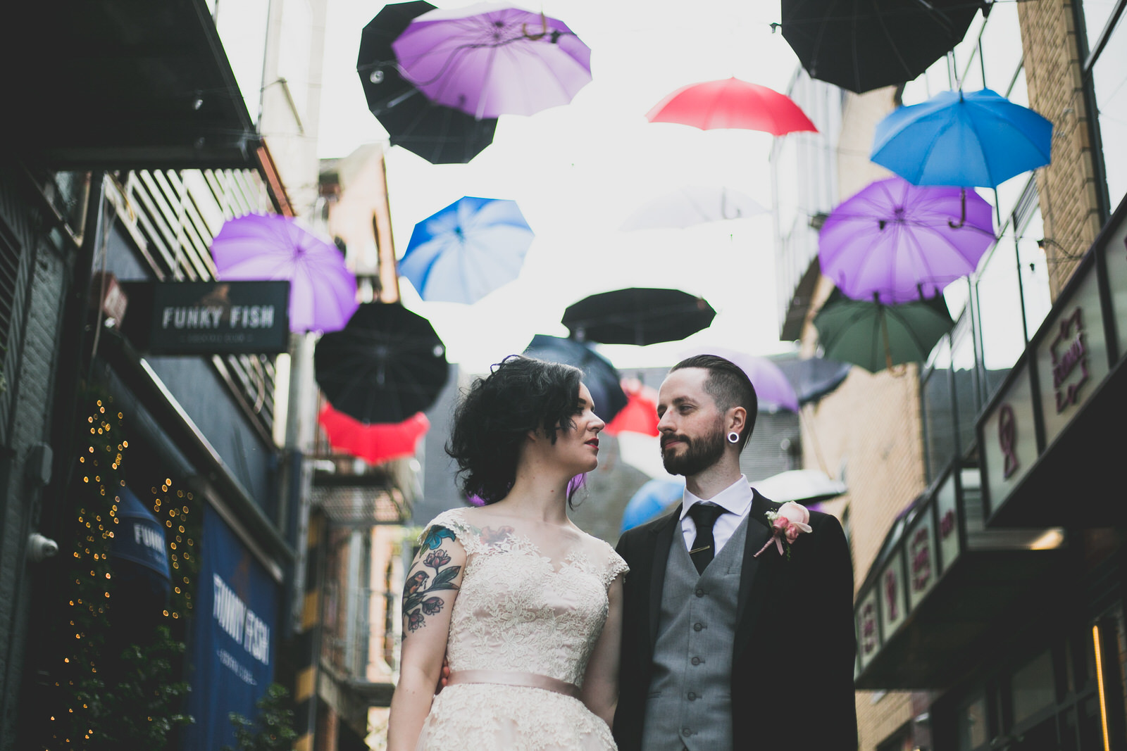 Wedding Portrait on South Anne's umbrella lane in Dublin