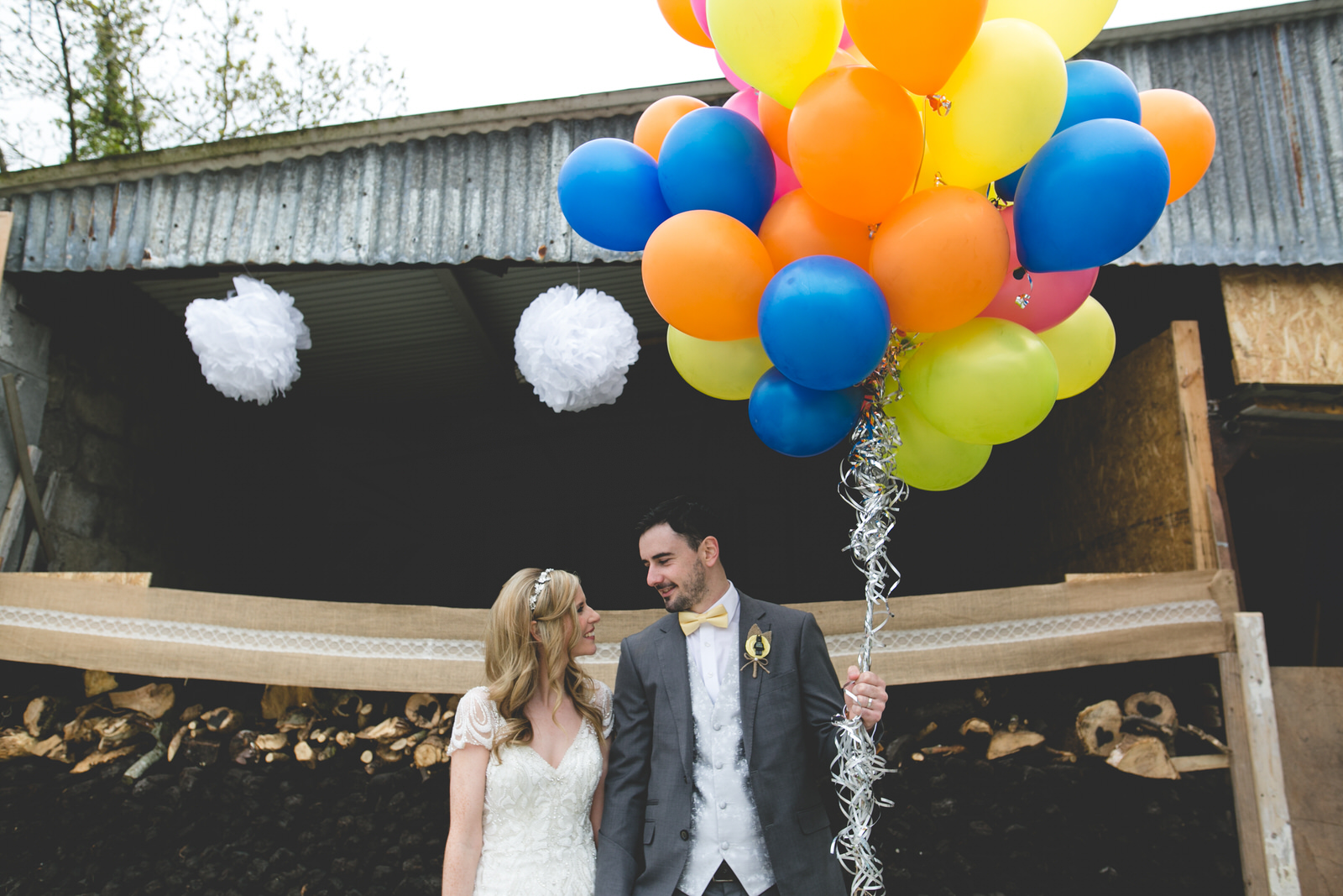 Up themed wedding with colourful balloons
