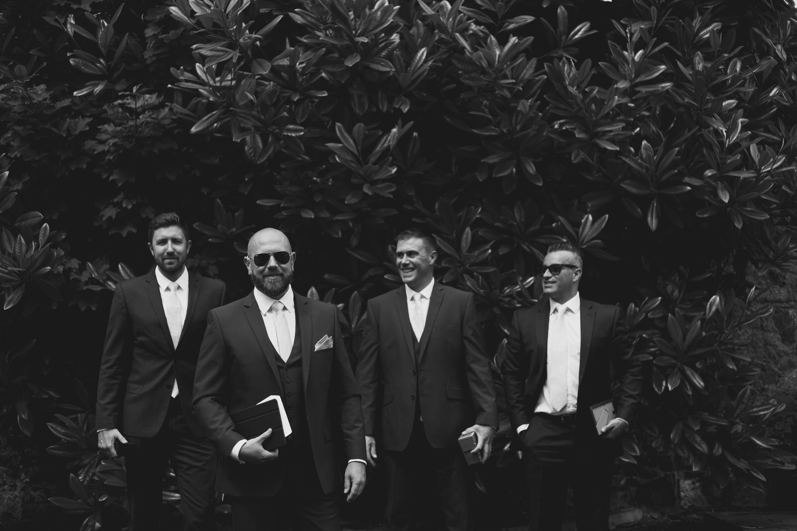 Black and White Groom and groomsmen portrait