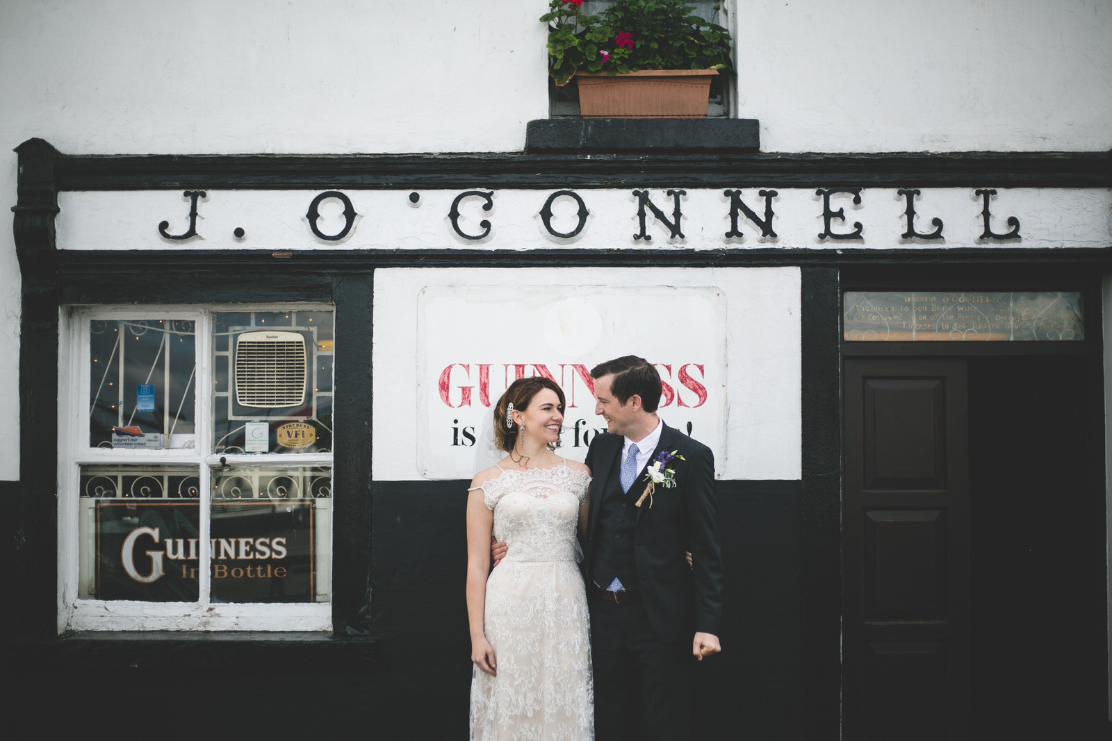 Wedding portrait at old Irish pub - J O Connell Pub