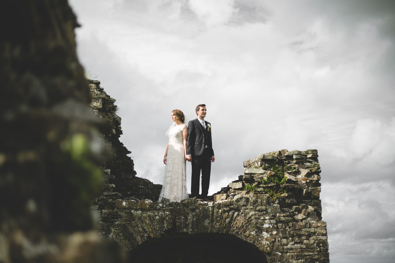 Cool wedding photography at old stone ruins