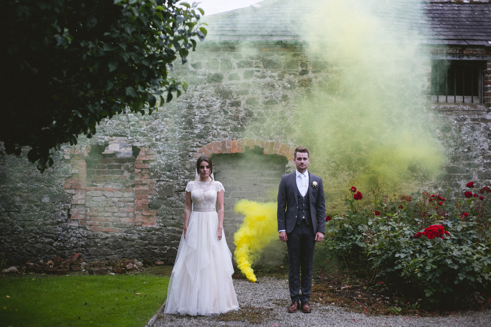 Wild Things Wed - Yellow smoke bomb photography Dublin Wedding Photographer