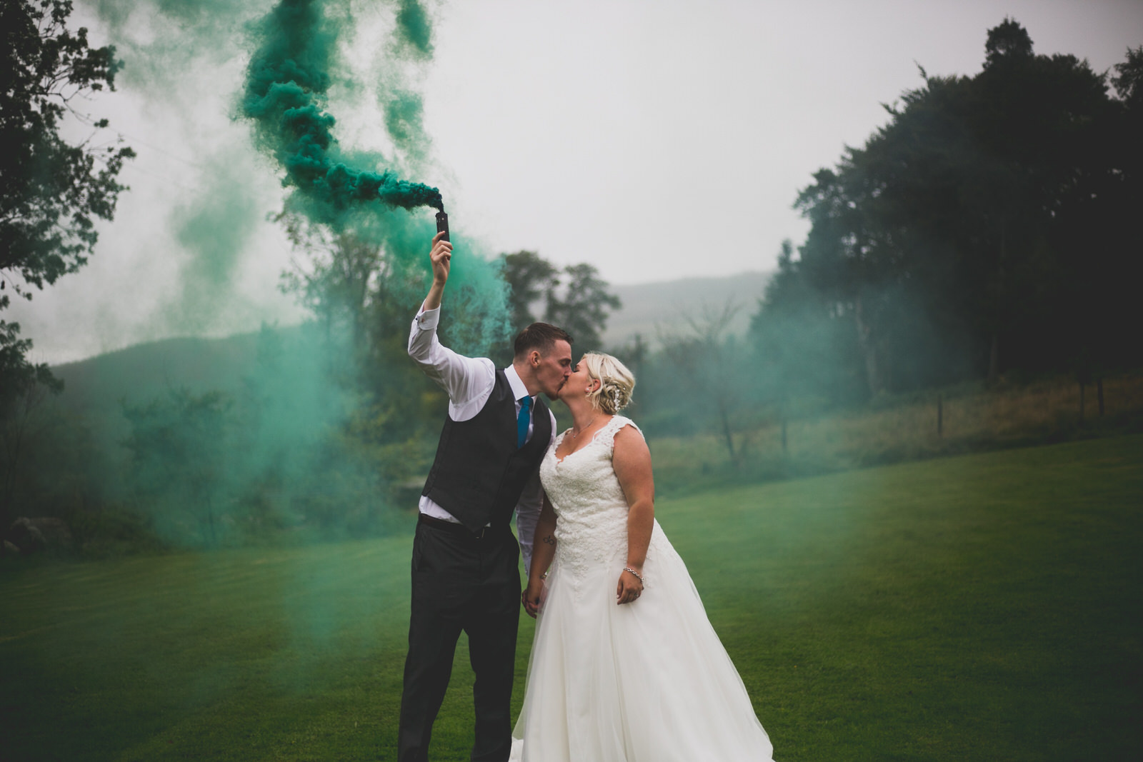 Green smoke bomb wedding photography