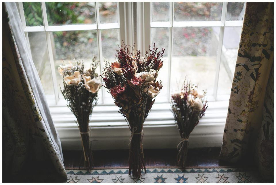 Photograph of beautiful dried autumn themed bouquets