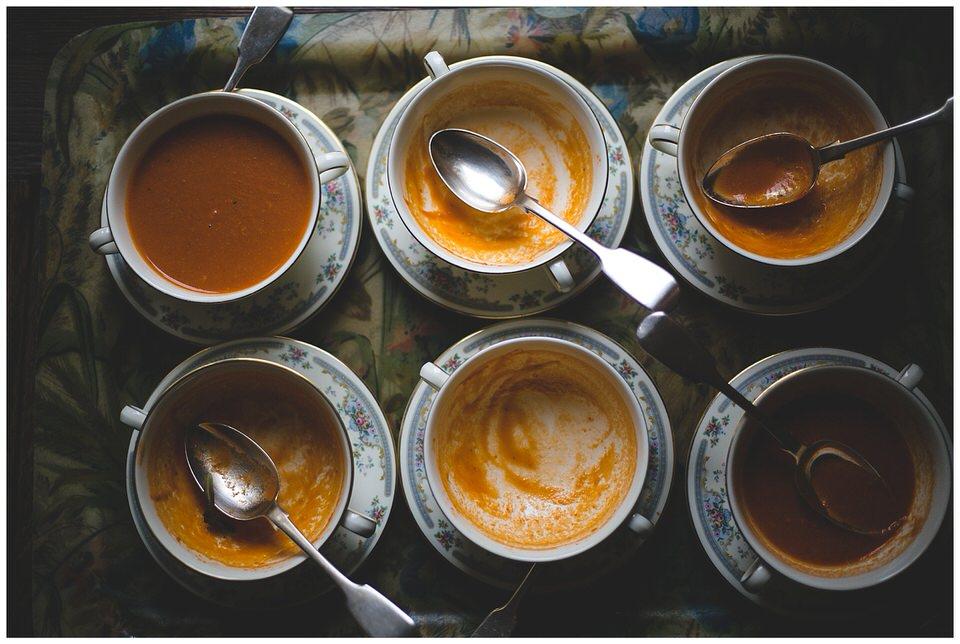 Bowls of butternut squash soup