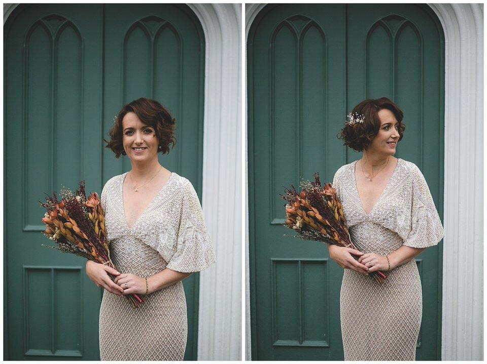 Bride in nude sequins wedding dress