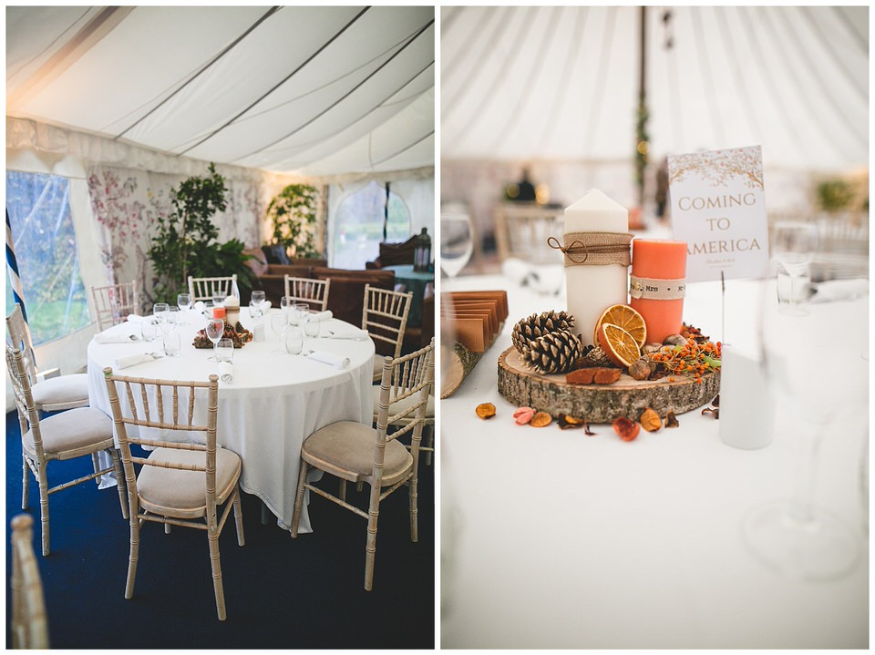 Autumn themed wedding table centrepieces