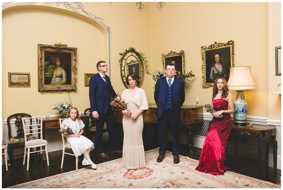 old fashioned bridal party portrait