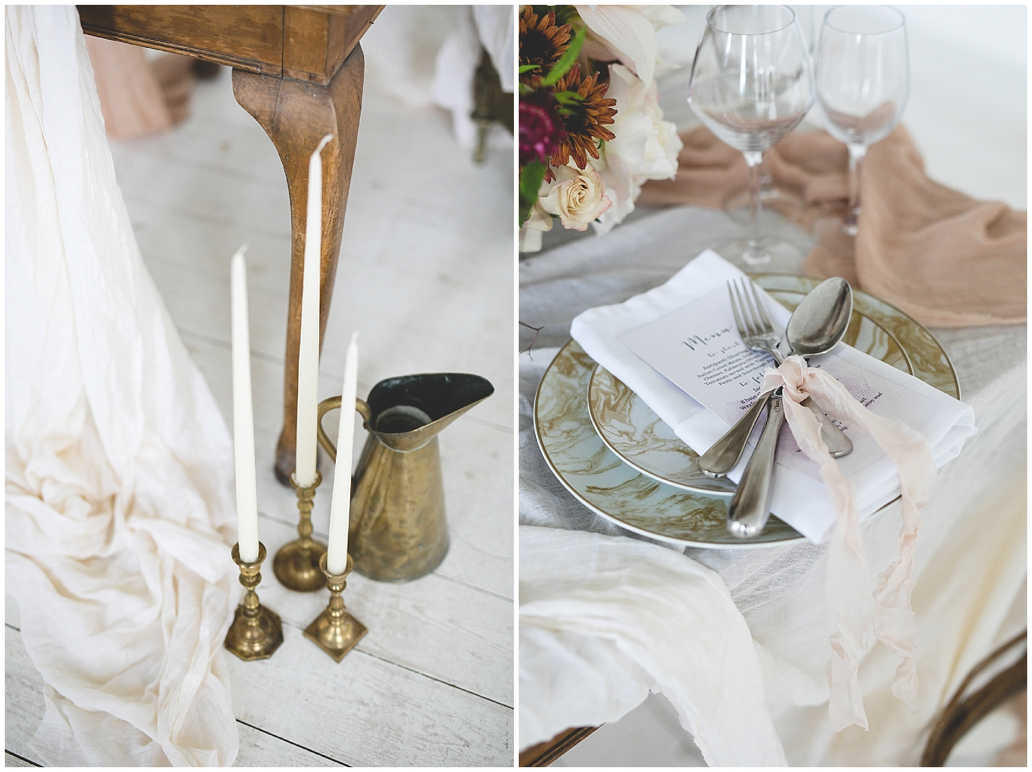 rustic table setting details with linens & gold