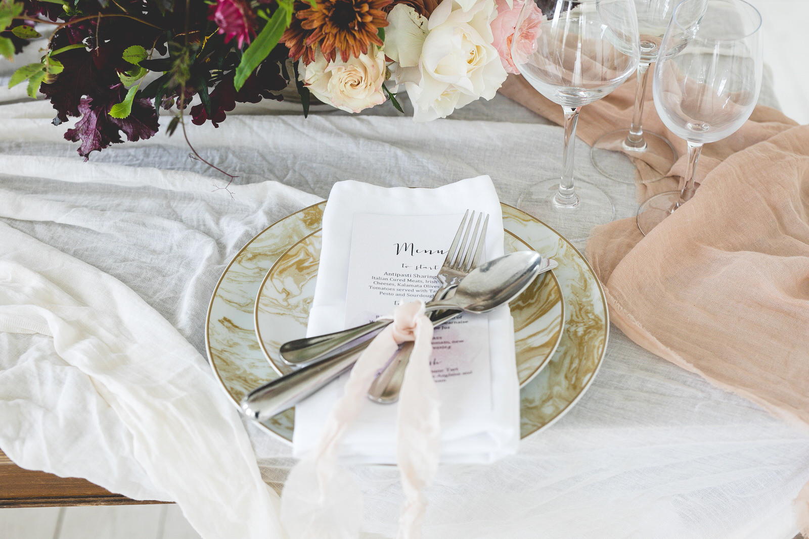 Gold Styled Wedding table setting