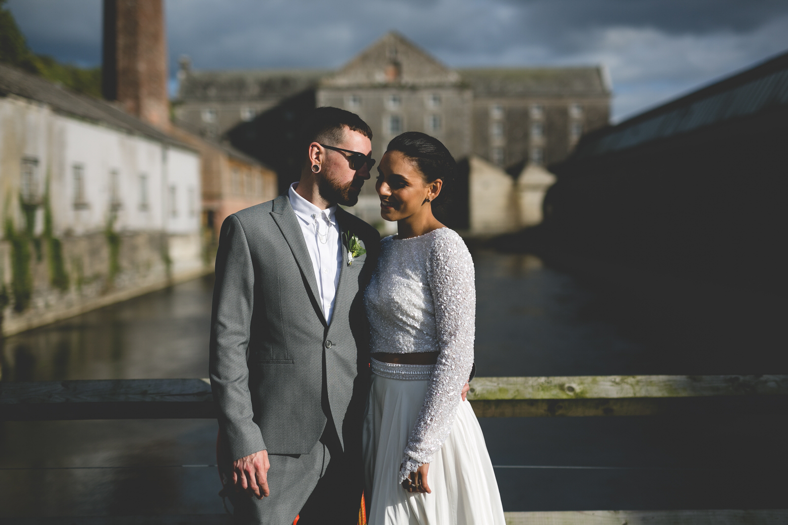 Golden light wedding portraits at the Millhouse in Slane