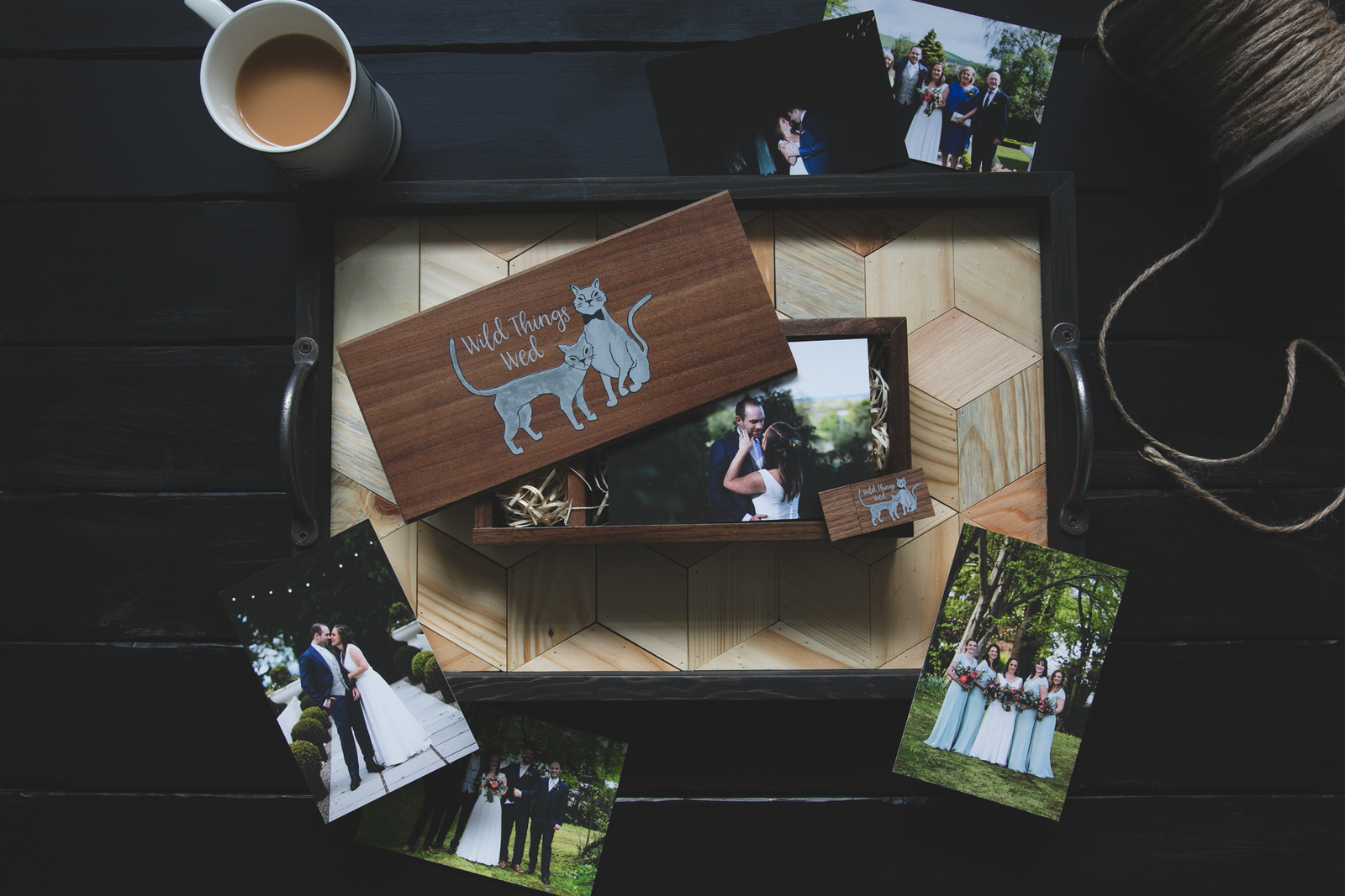 Dark wooden Wedding USB package