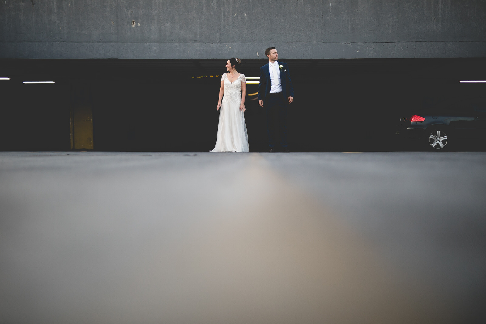 wedding photos in drury street car park roof