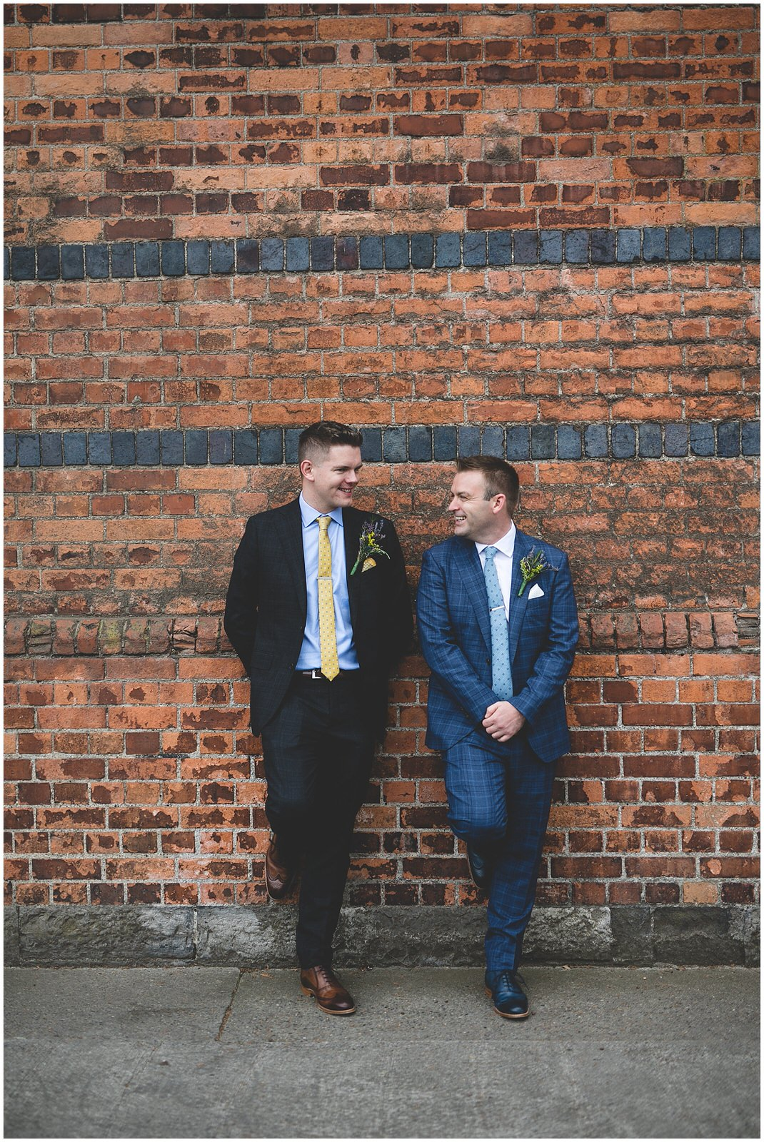 Red brick textured backdrop for wedding portraits
