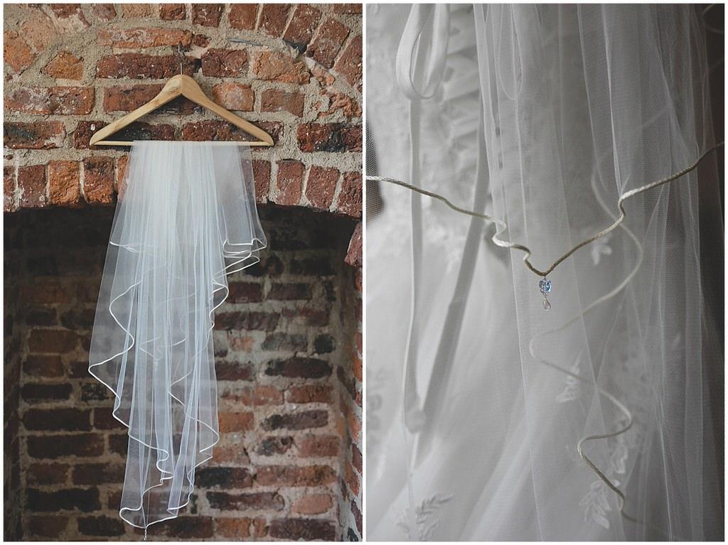 Delicate white veil details
