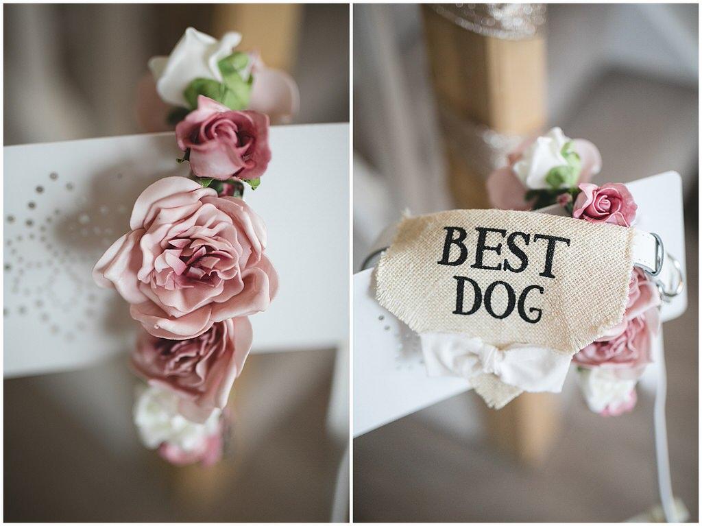 Best Dog burlap bandana & floral colar