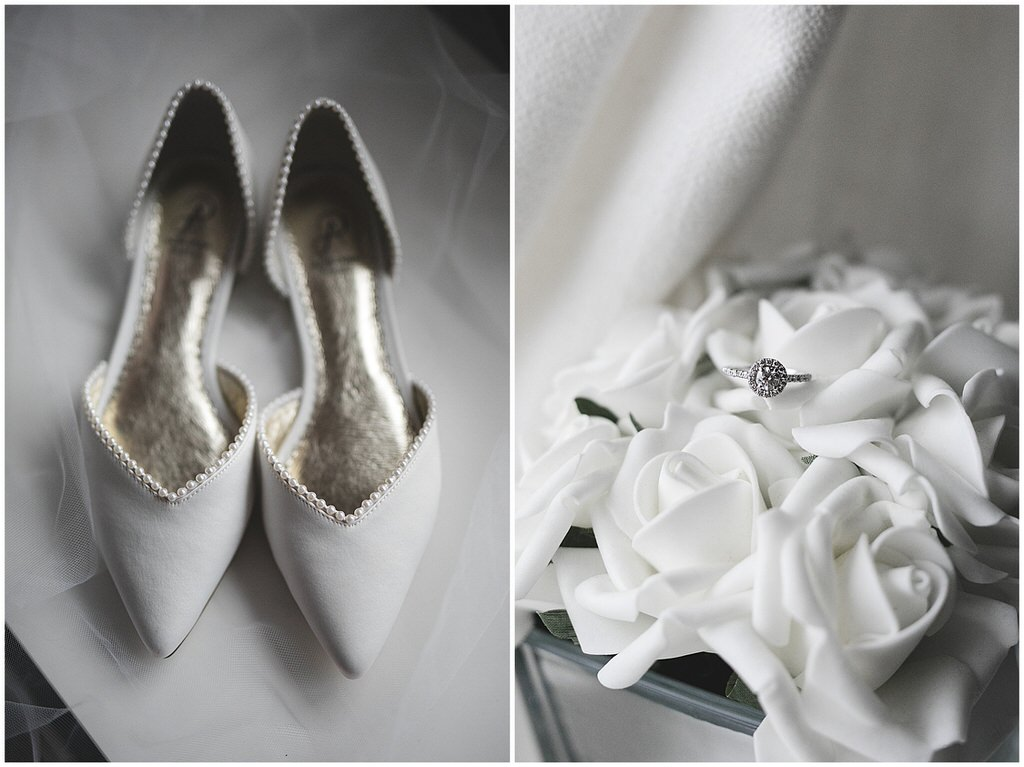 White flat wedding shoes & silver diamond engagement ring