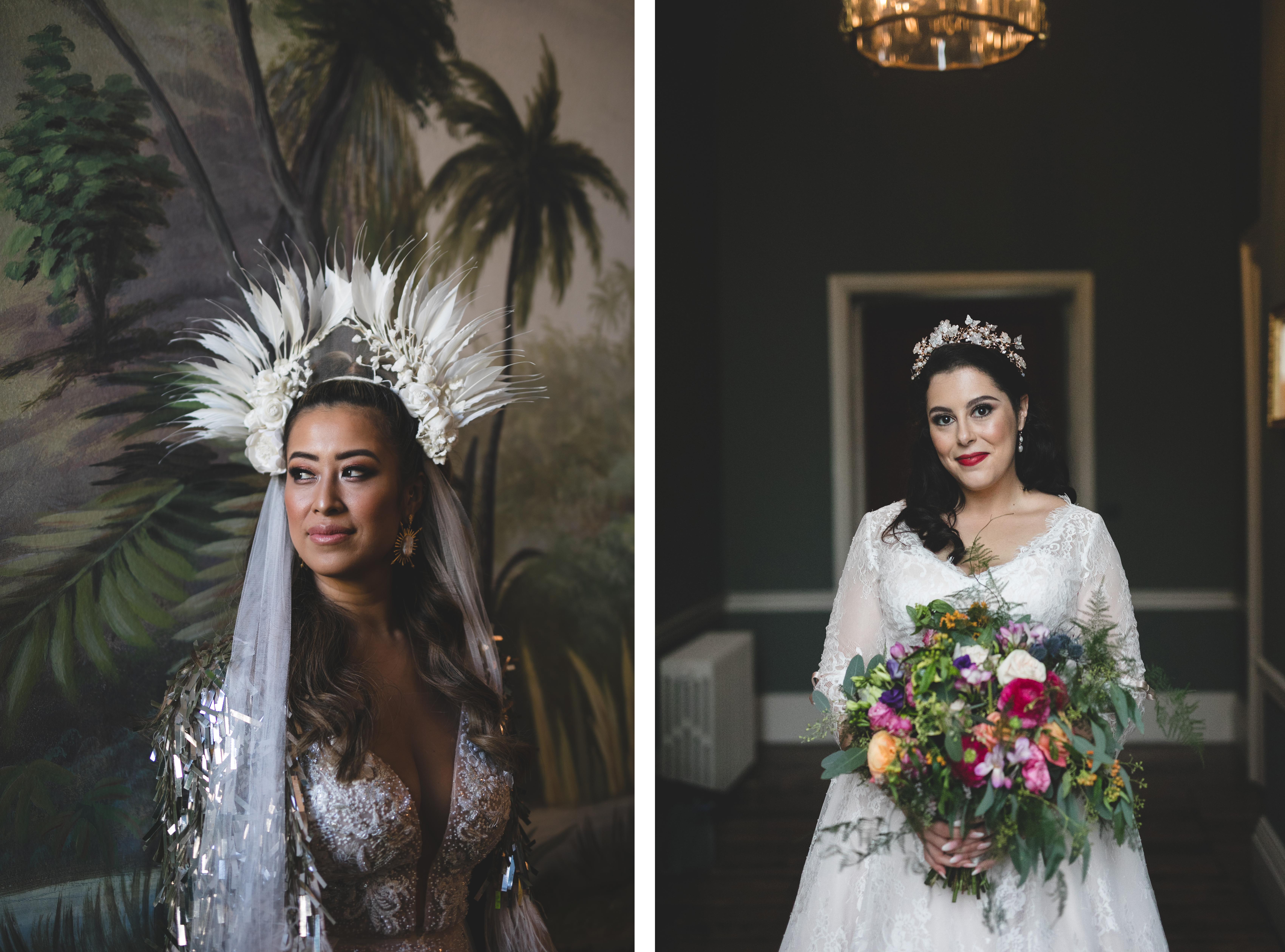 Headshot portraits of brides during the wedding morning
