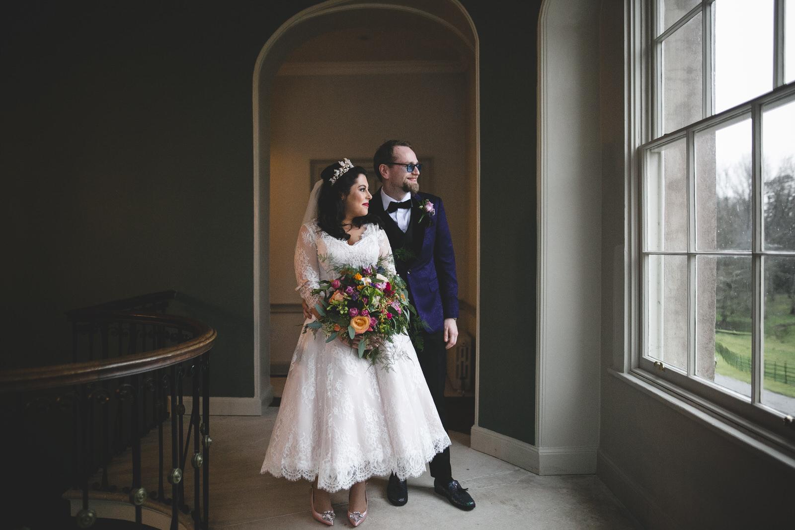 rainy day wedding portraits at Farmleigh House Estate