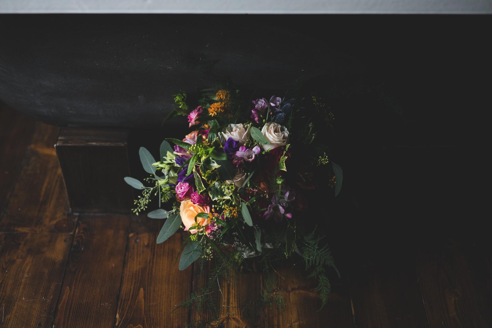 Wild dark & colourful wedding bouquet