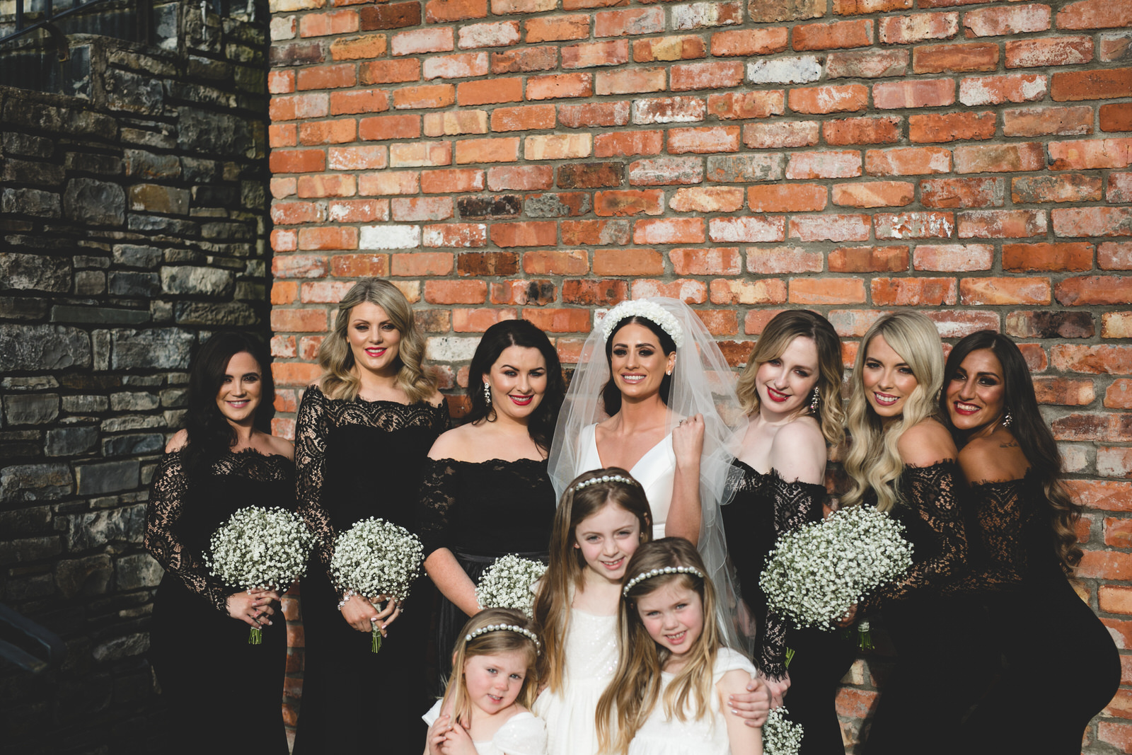Bridal party group shots at Ballymagarvey Village in Meath