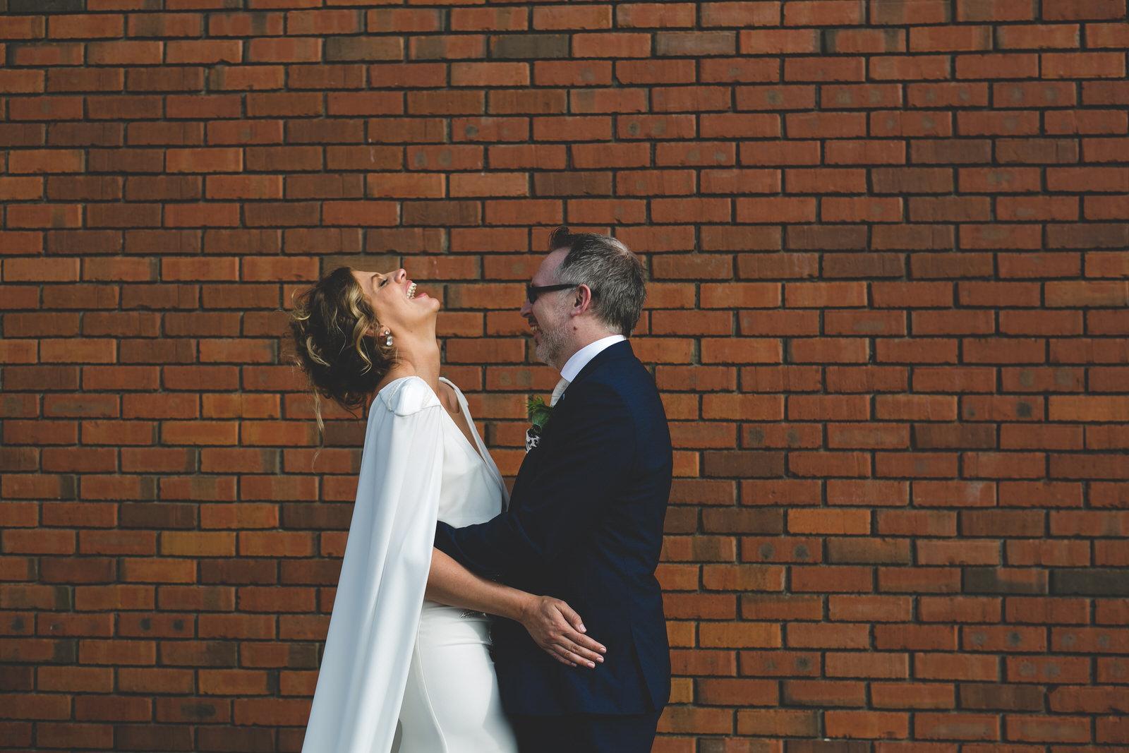 Rooftop carpark wedding portraits in Dublin