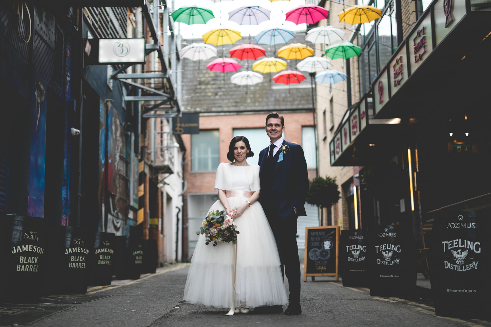 South Annes Lane Umbrella Installation & wedding photo
