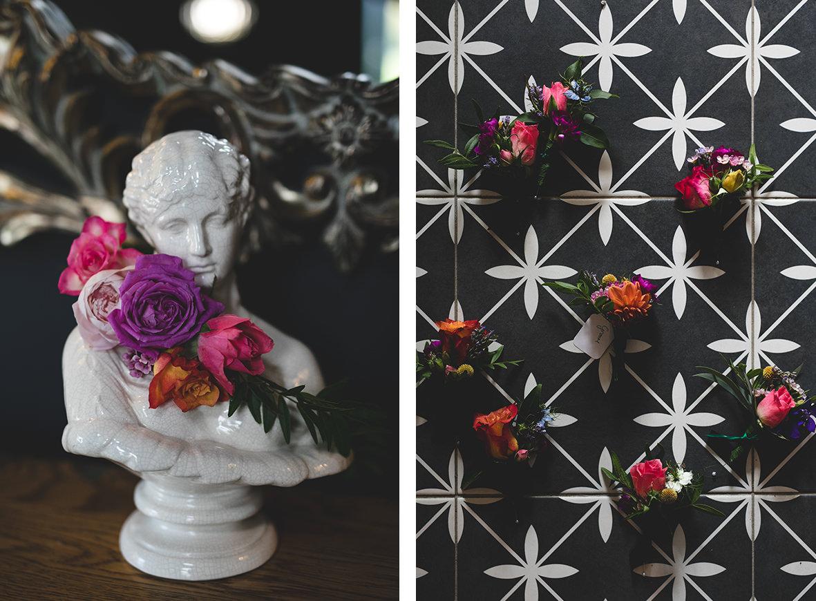 vivid colourful floral crown & boutonniere