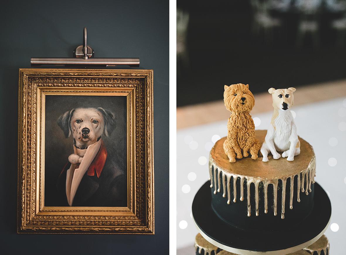 dog themed wedding details - Dog cake topper
