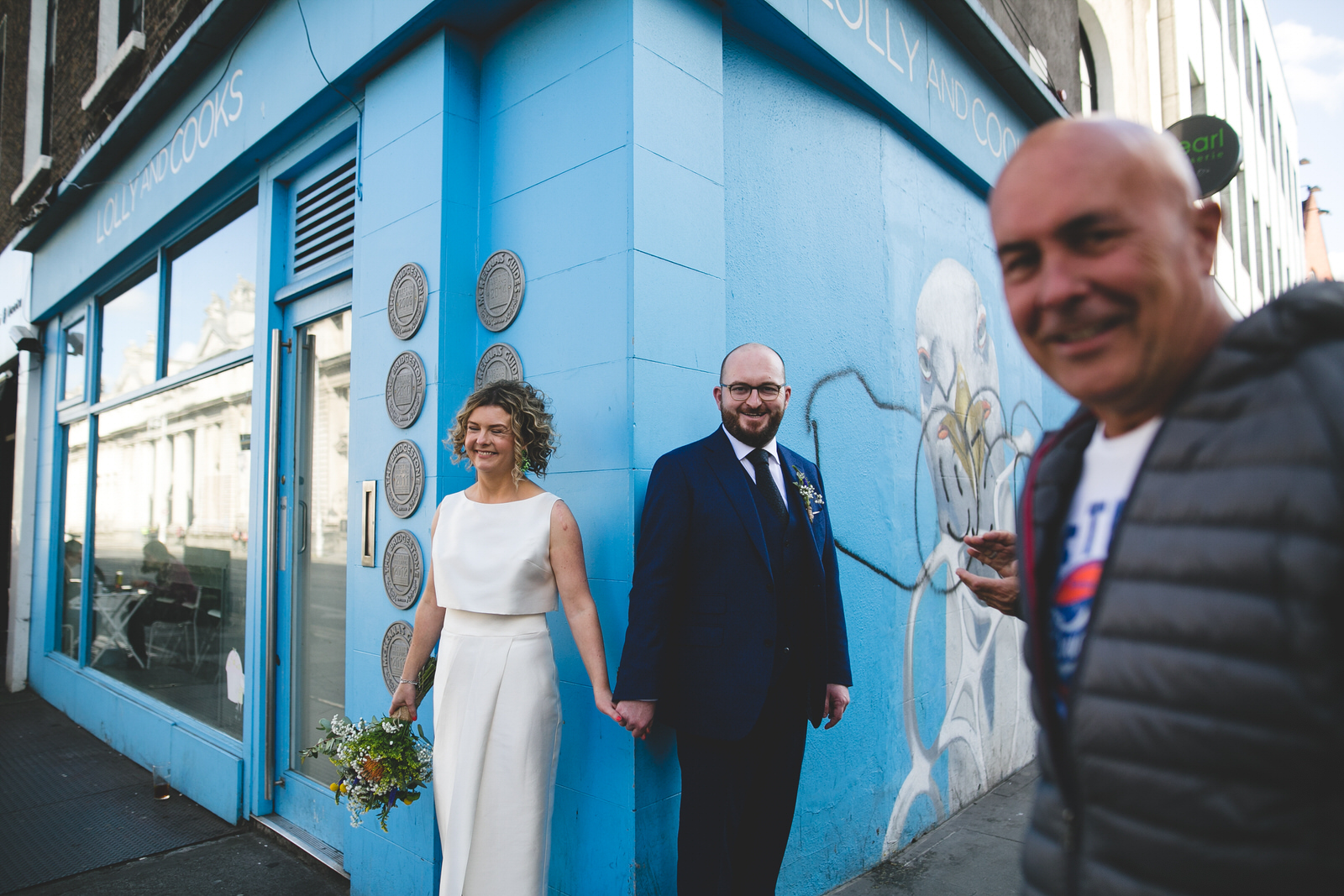 Wedding portrait at Lolly and cooks on Baggot Street