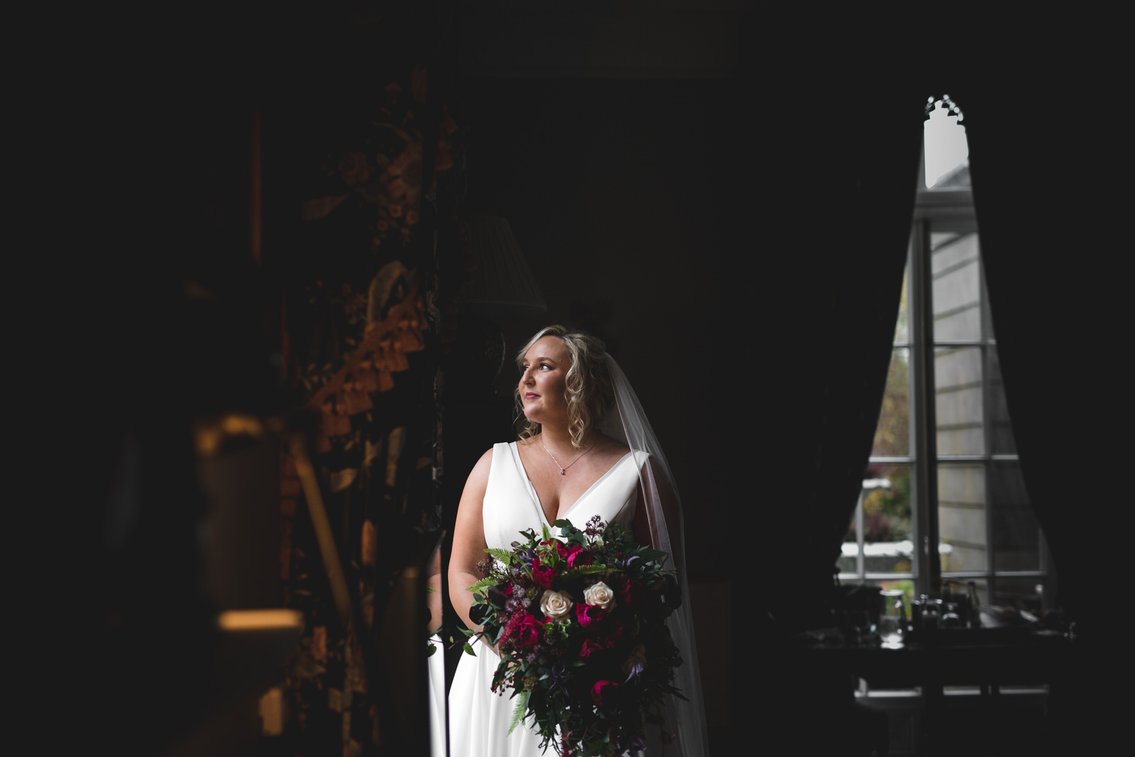 pre wedding ceremony portrait at Marlfield House Hotel