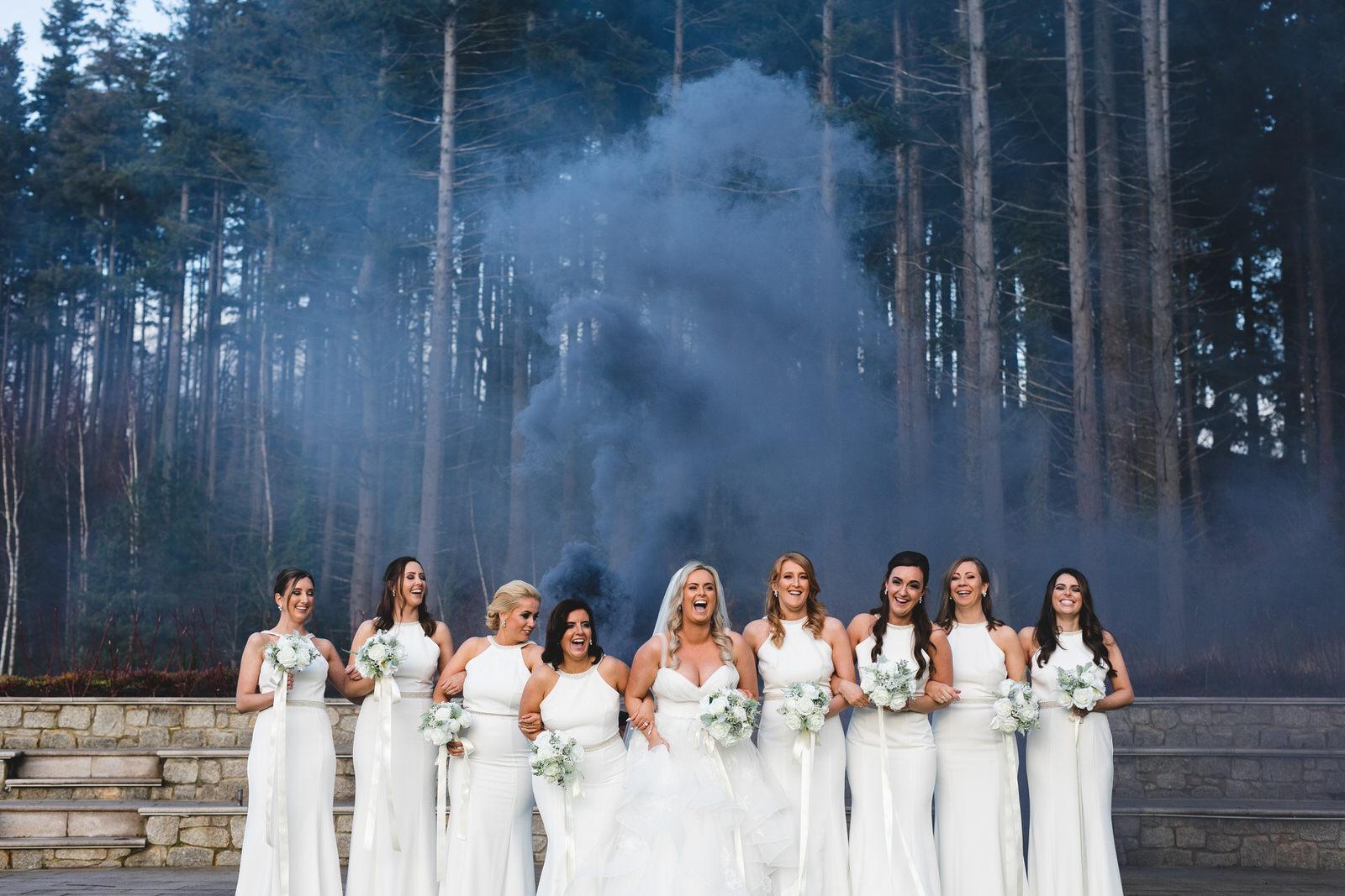 Smokebomb wedding photos at Powerscourt Hotel Wicklow