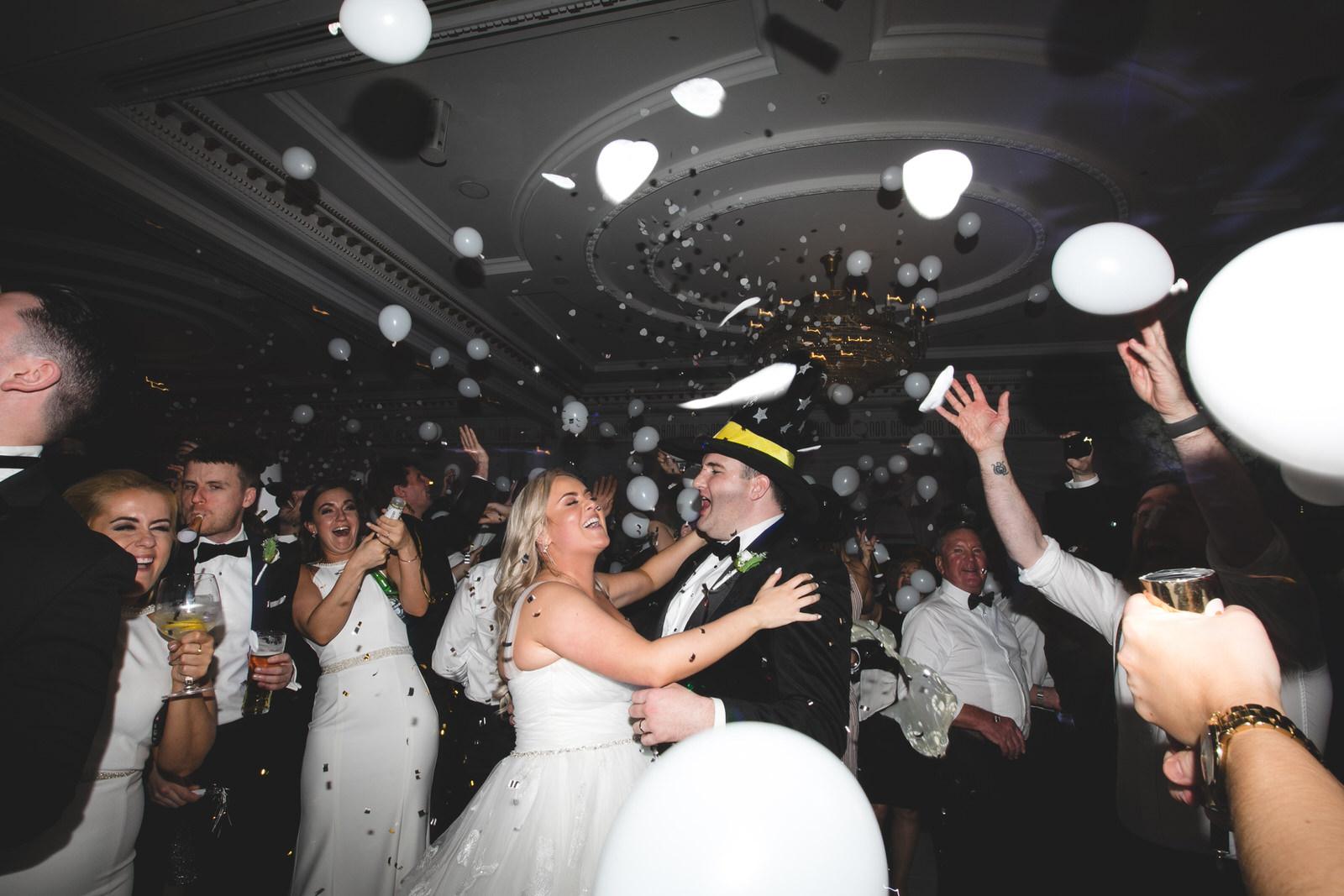 new years eve wedding confetti & balloon drop at Powerscourt Hotel