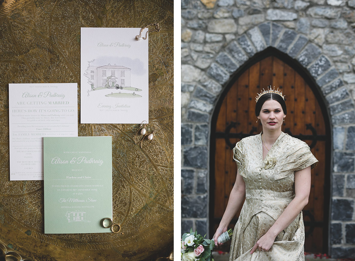 Alternative bride in gold wedding dress with gold crown