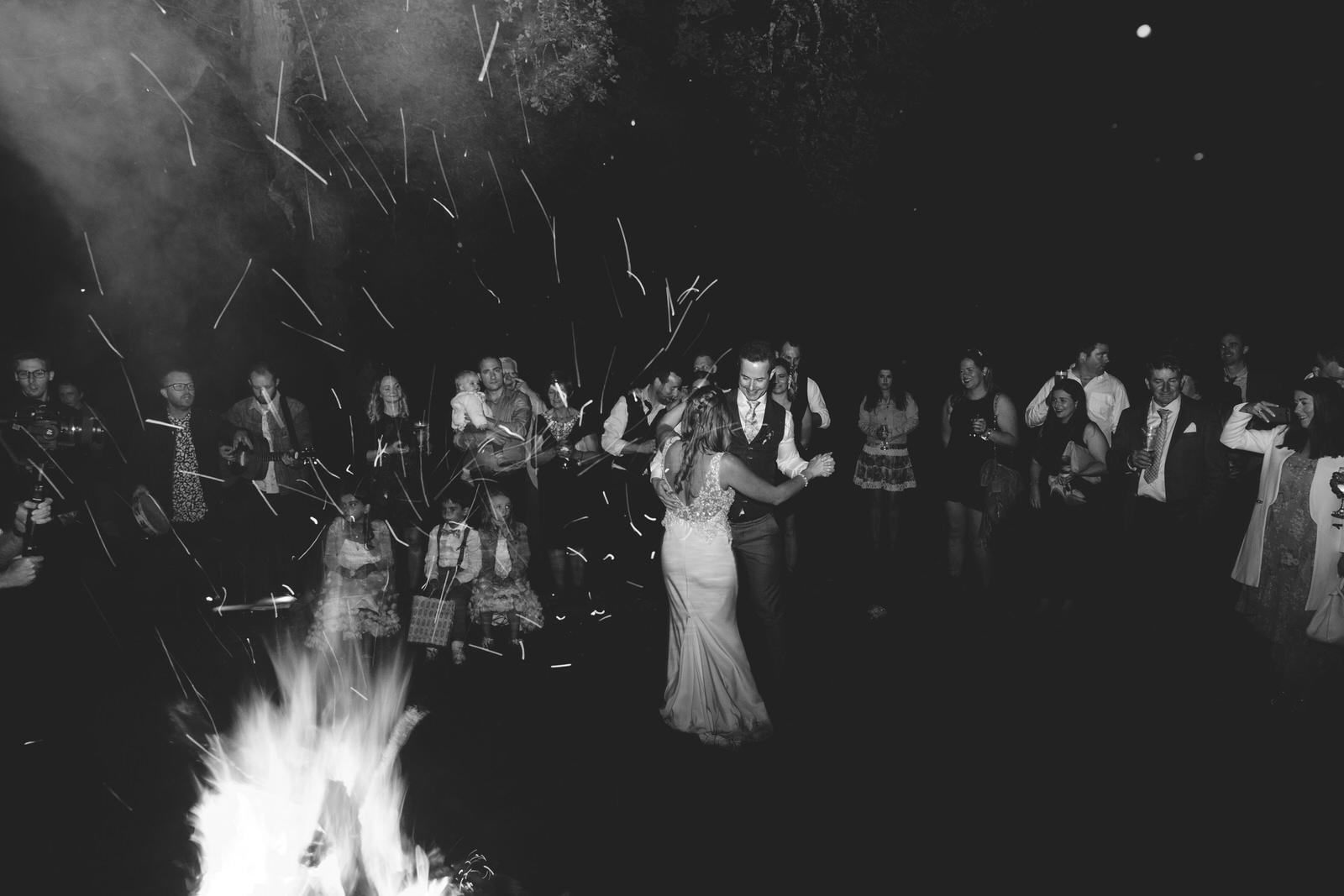 First dance outside around a bonfire at Kippure Estate