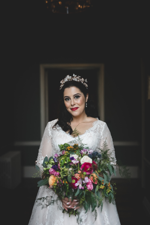 Natural light wedding portrait photography