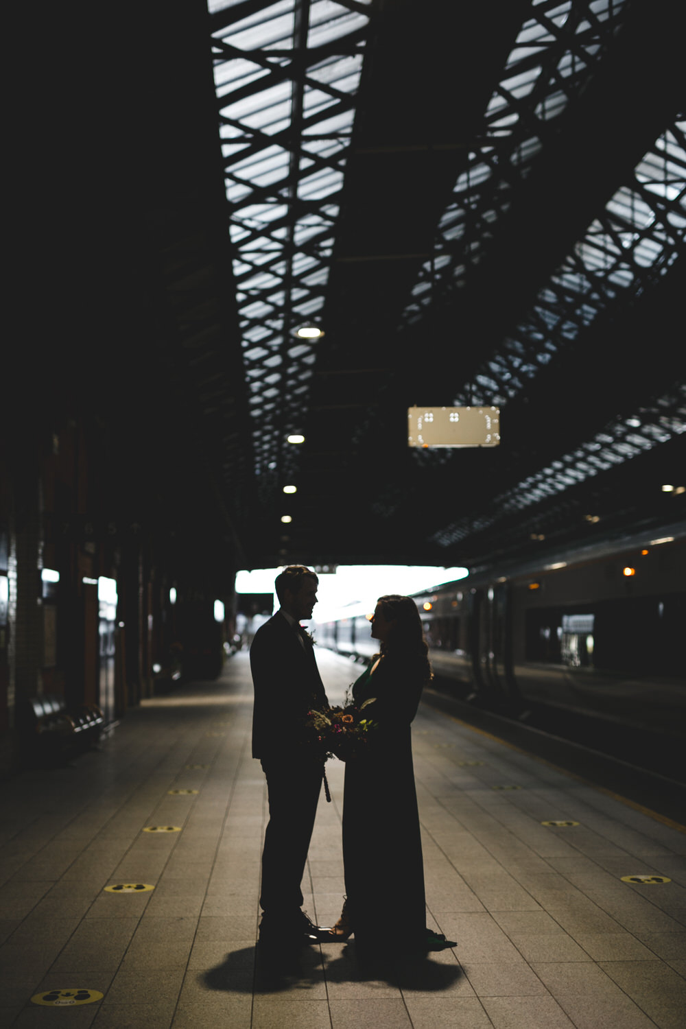 silhouette portrait at Connolly station Dublin
