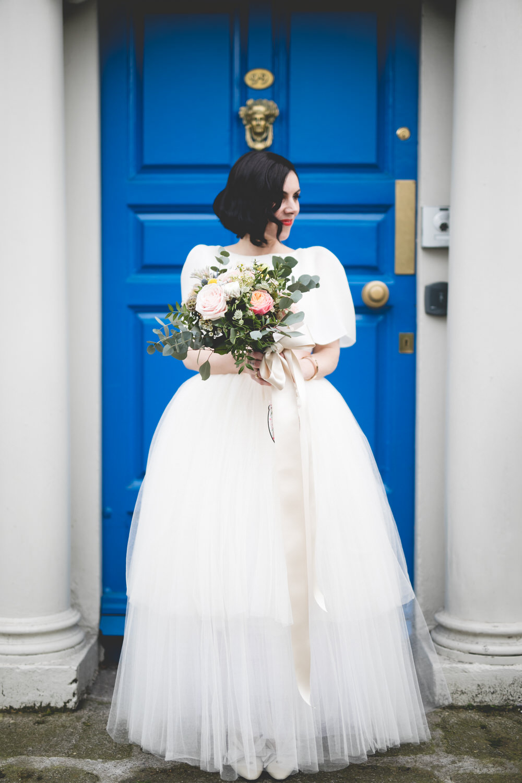 Portrait at a blue dublin doorway beside St Stephen's green